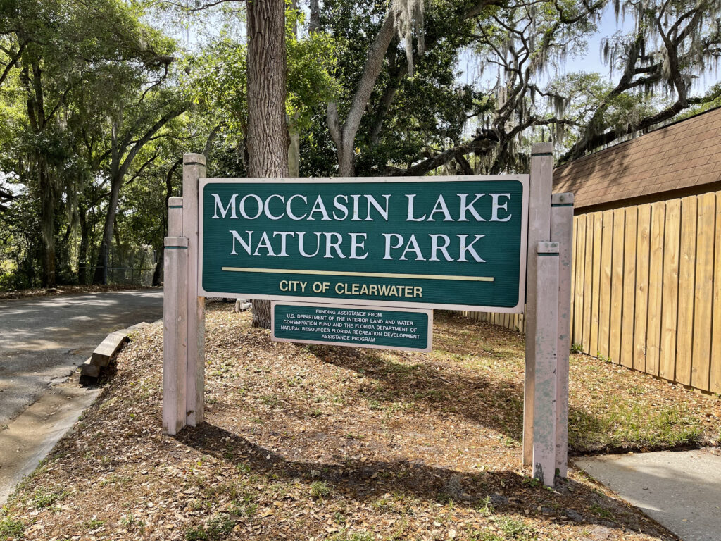 A sign of the Moccasin Lake Nature Park