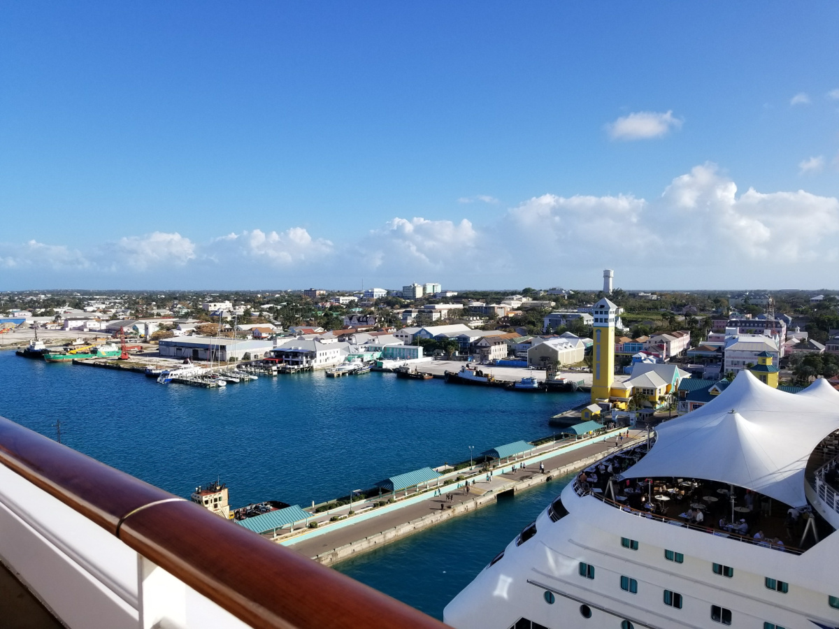 Up to seven cruise ships can dock at Nassau's Prince George Wharf, and as the port does not require tendering, passengers walk off the ship directly onto the dock.