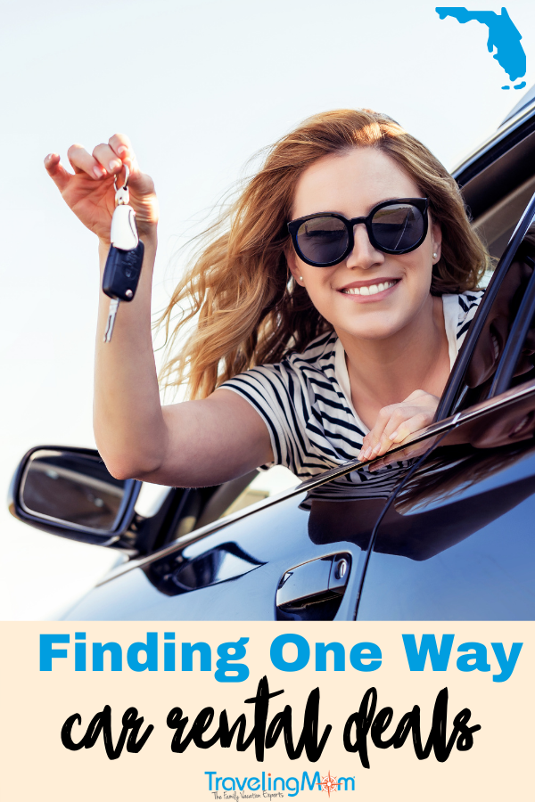 smiling woman in sunglasses leans out of a car window holding her keys up text says finding one way car rental deals