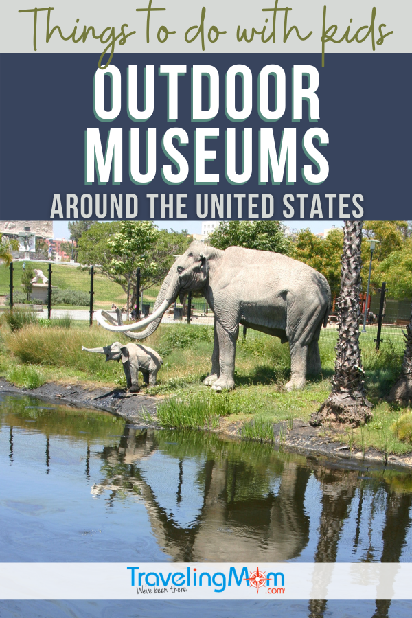text outdoor museums around the united states with image of elephants near water
