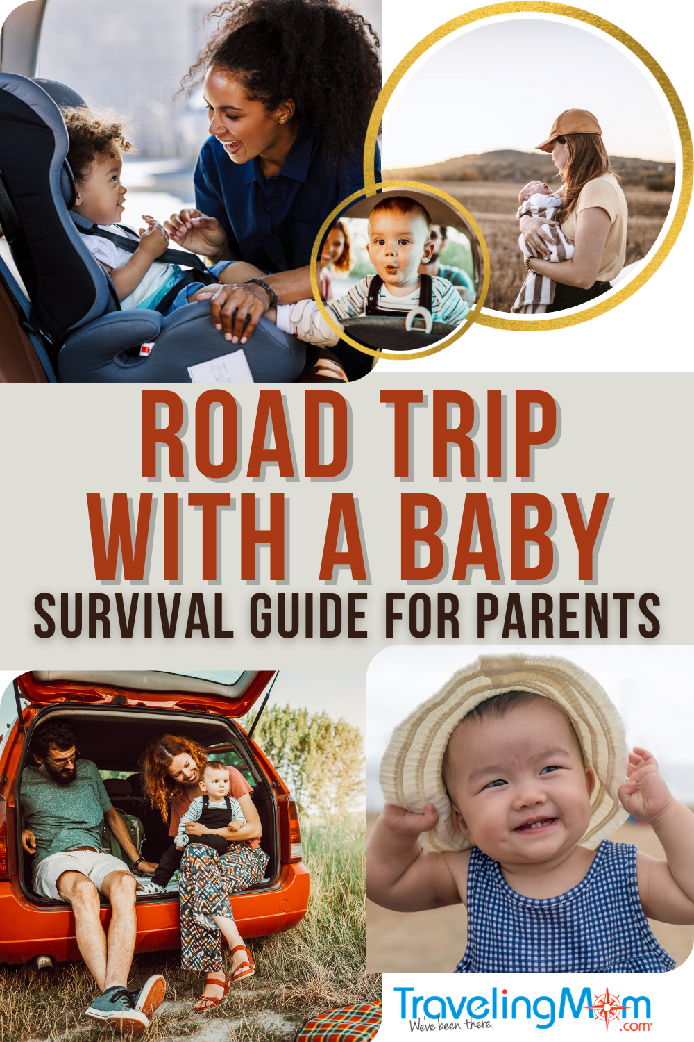 pin image with text reading road trip with a baby survival guide for parents