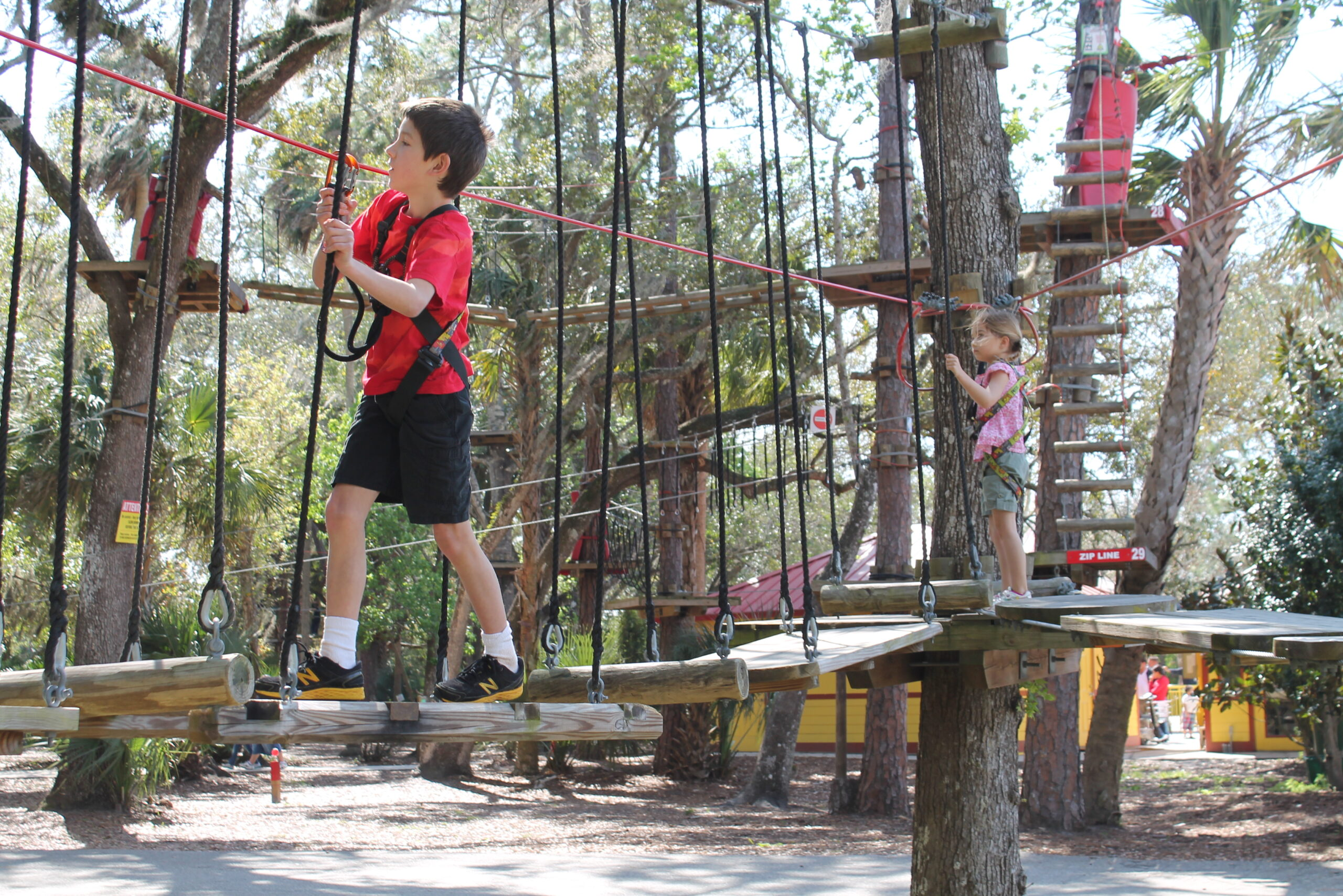 small children navigating a ropes course at the Central Florida Zoo, a fun thing to do with kids in Orlando