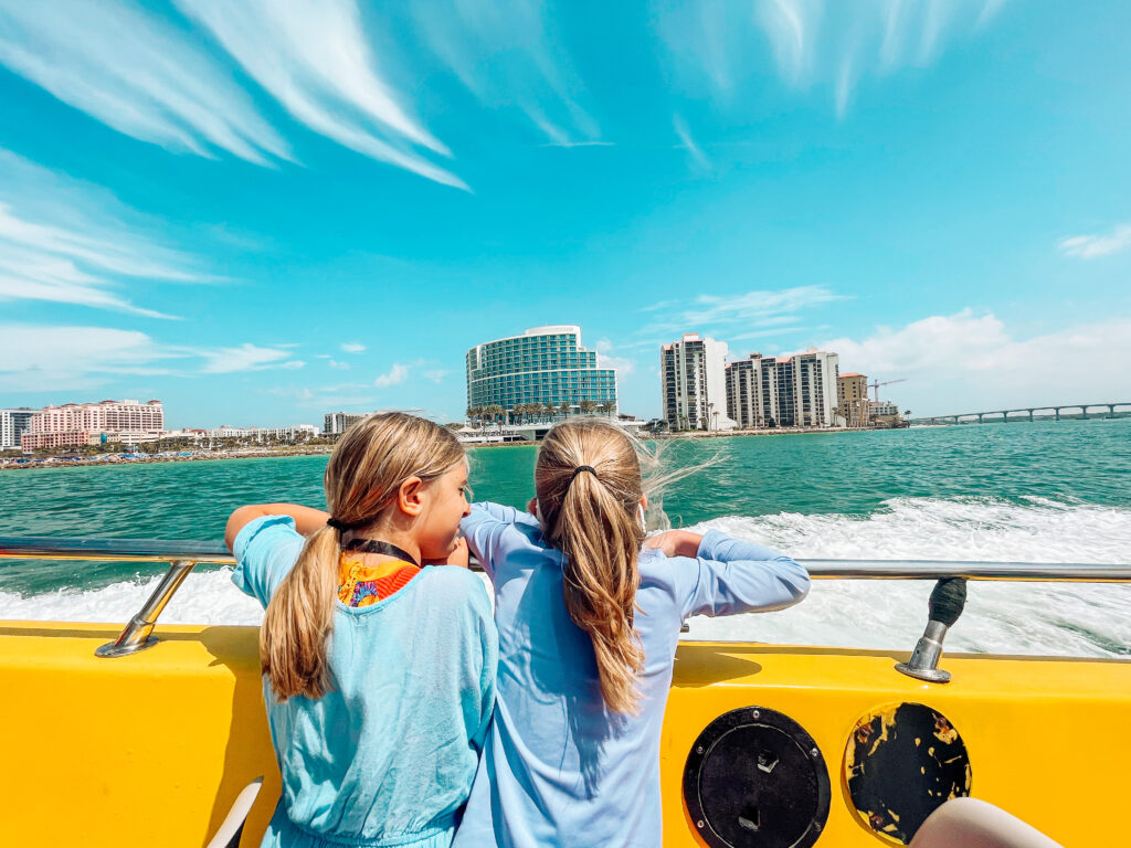 Kids riding the sea screamer boat in clearwater