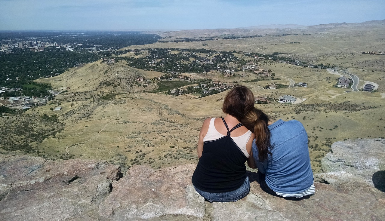 Mother and. child enjoying Table Rock view in Boise, one of the fun things to do