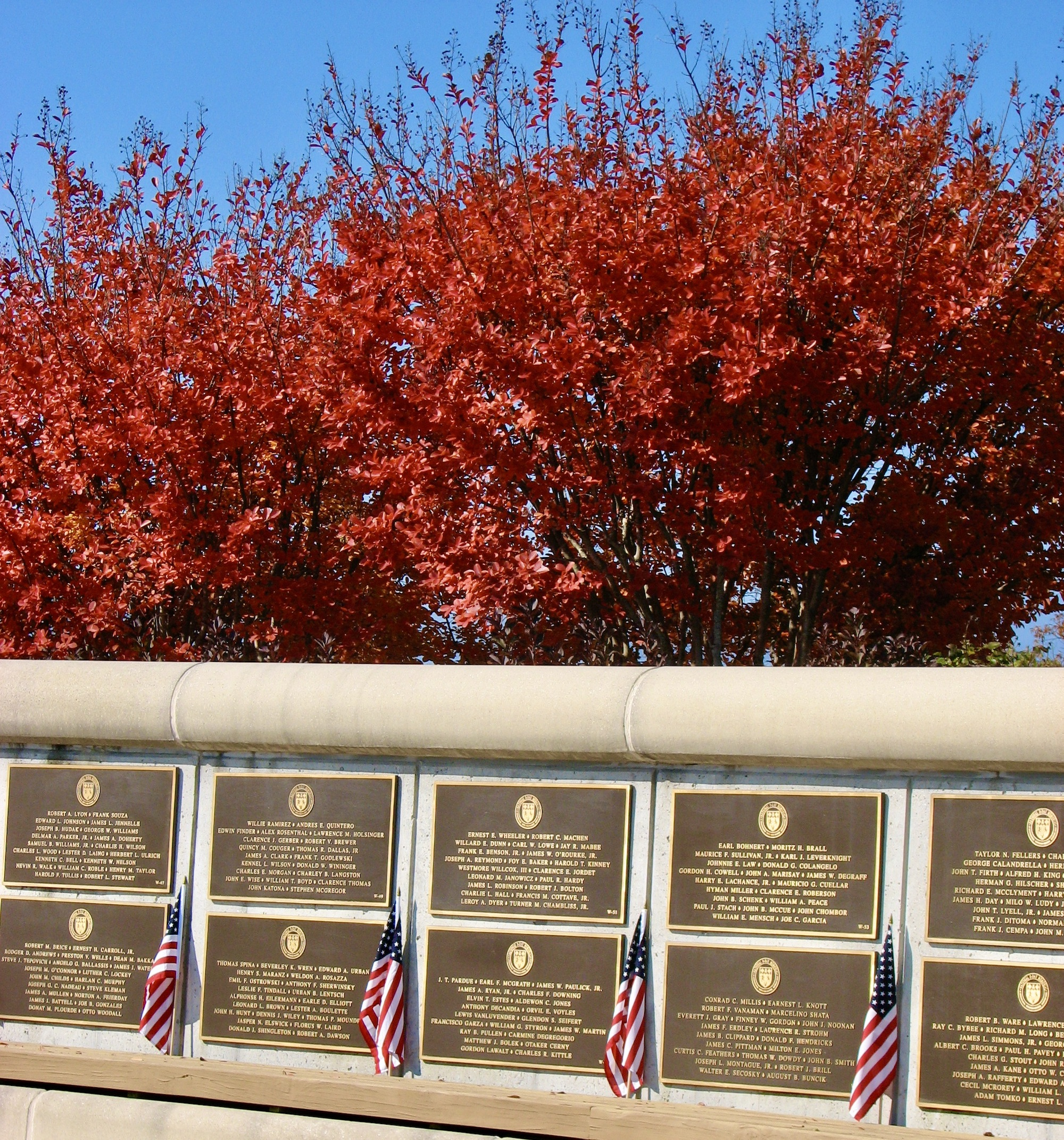D-Day Memorial in Bedford honors service with individual names.