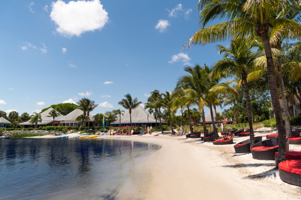 The beach at Club Med Sandpiper Bay, one of the all inclusive resorts in Florida