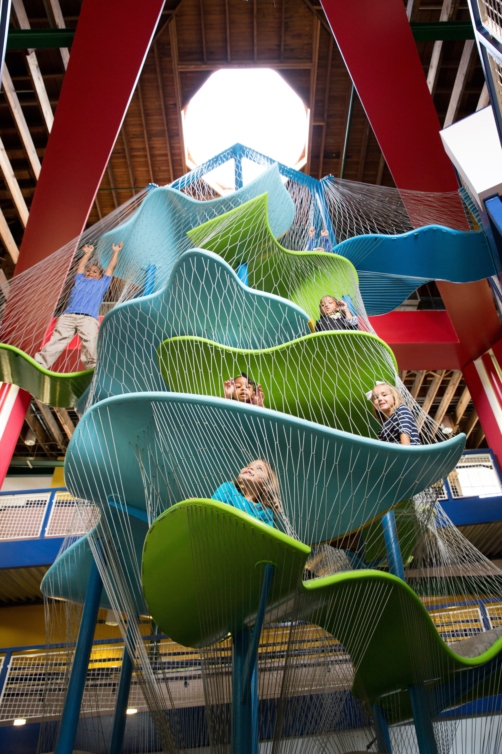 Fun with kids in Biloxi discovers amazing staircases at Lynn Meadows Discovery Center.