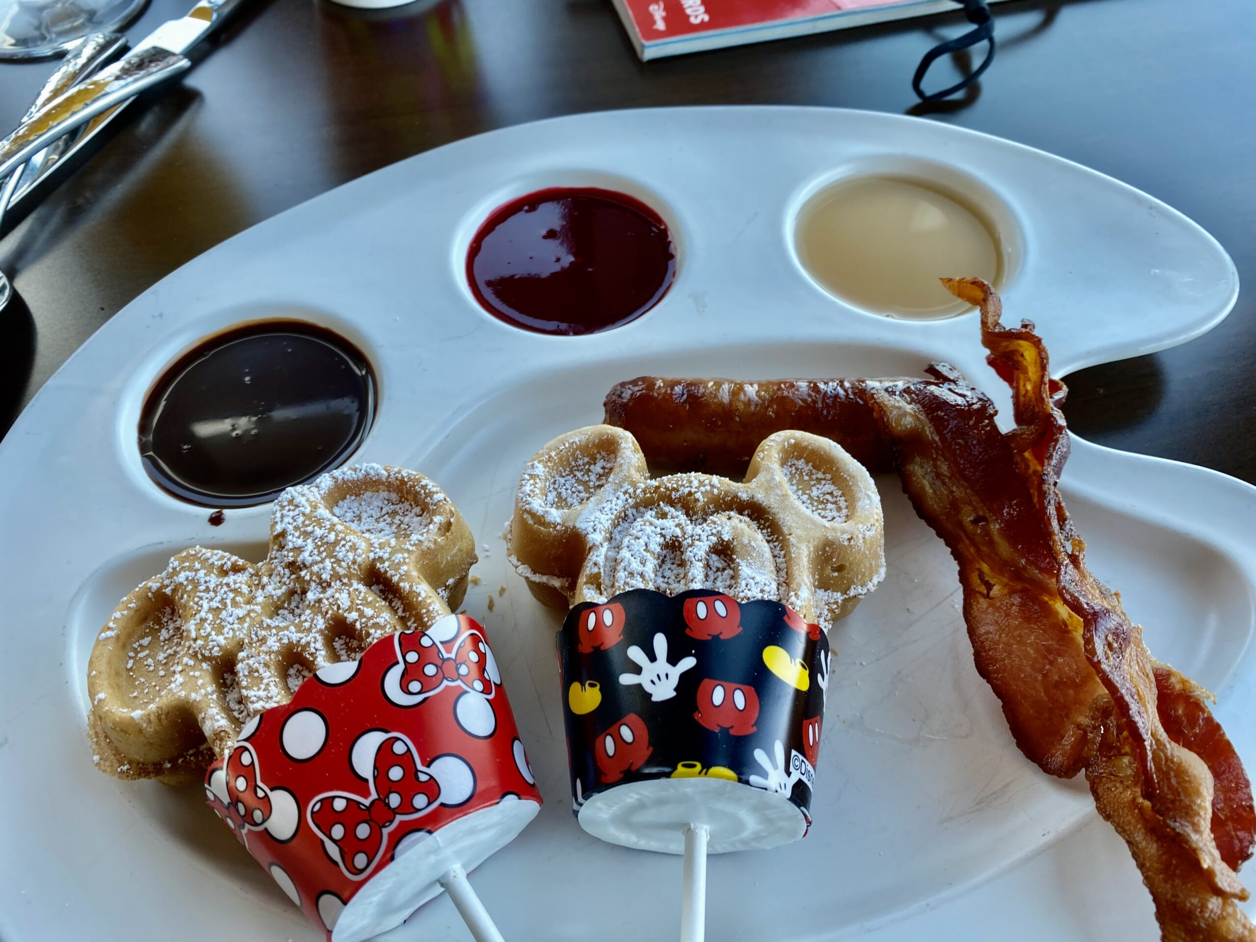 Mickey and Minnie waffles for breakfast
