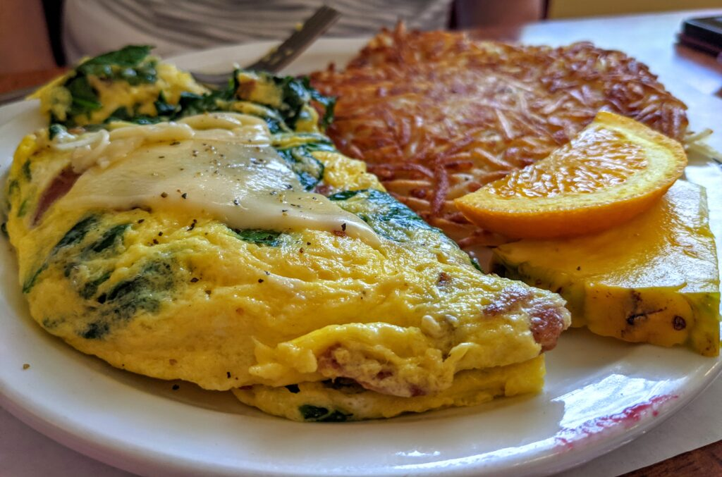 Omelet from Blue Star Diner in Douglas Michigan.