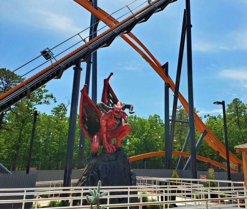 In front of the Jersey Devil Coaster at Six Flags Great Adventure