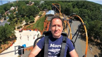 A man about to ride the Jersey Devil Roller Coaster