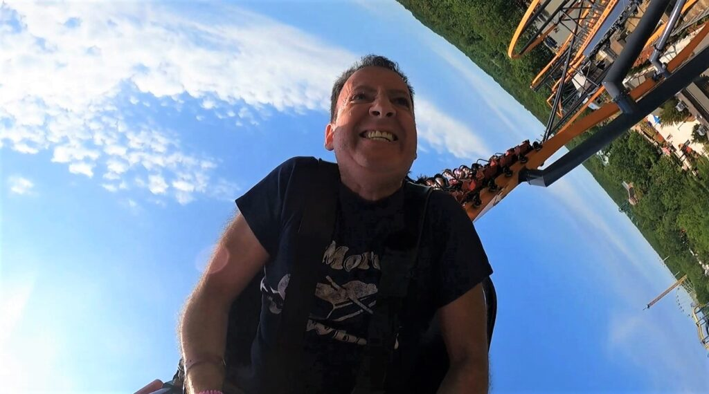 Man riding the Jersey Devil Coaster at Six Flags Great Adventure