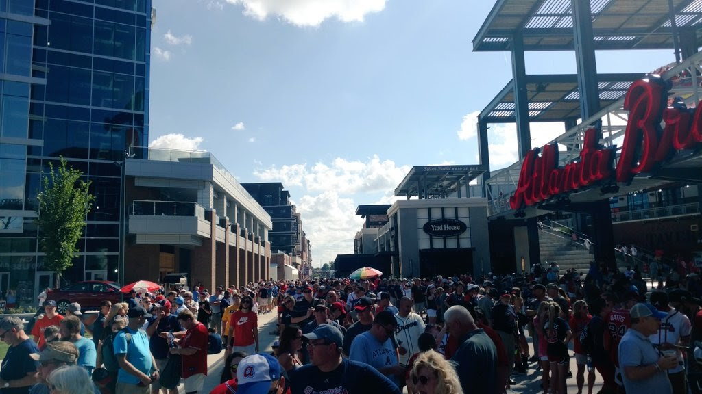 The Battery Atlanta is crowded on a Braves game day.