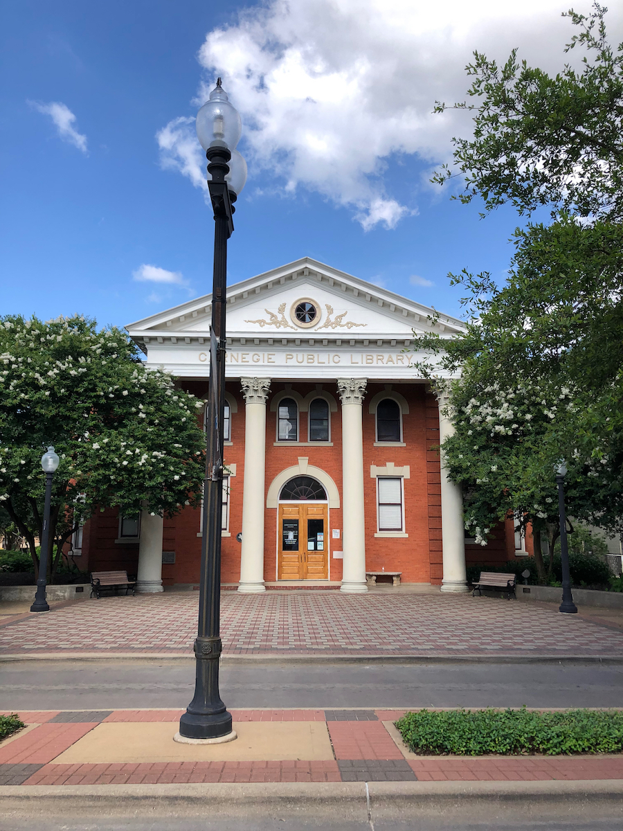 Facade of the Carnegie Library, one of the fun things to do in Bryan