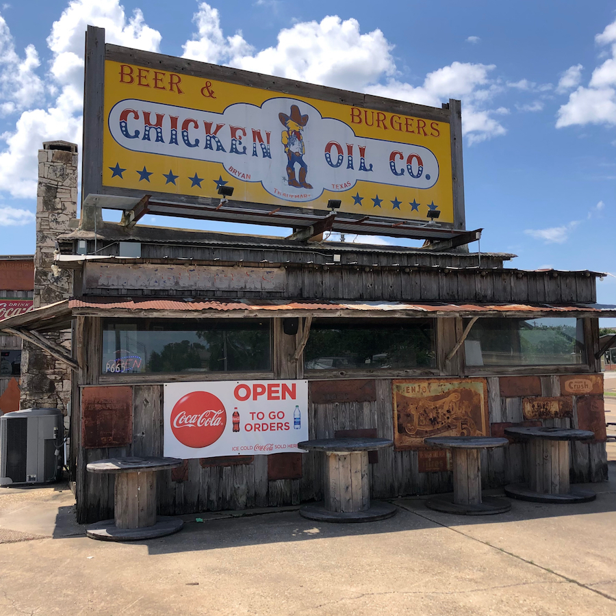 Rustic facade of the Chicken Oil Co. restaurant in Bryan TX