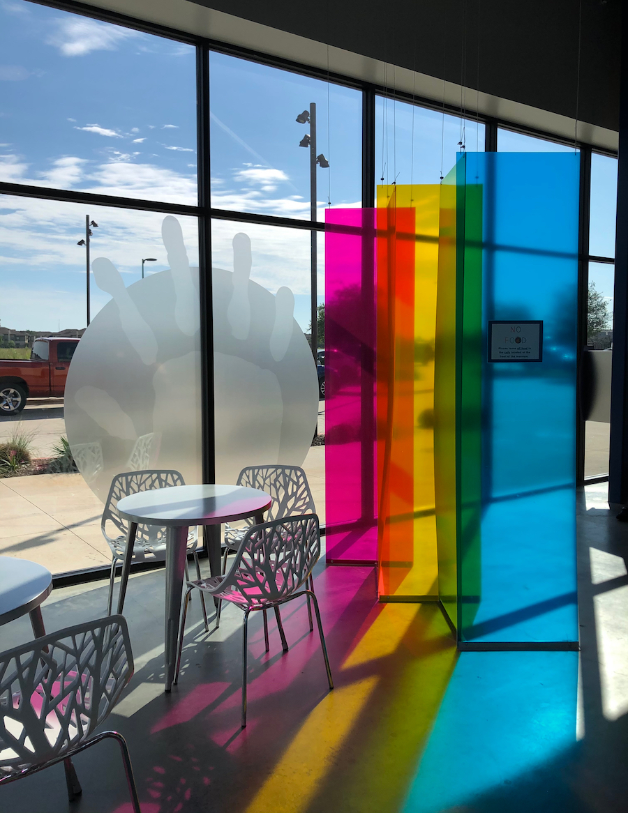 colorful window installation at the Children's Museum, one of the fun things to do in Bryan Texas