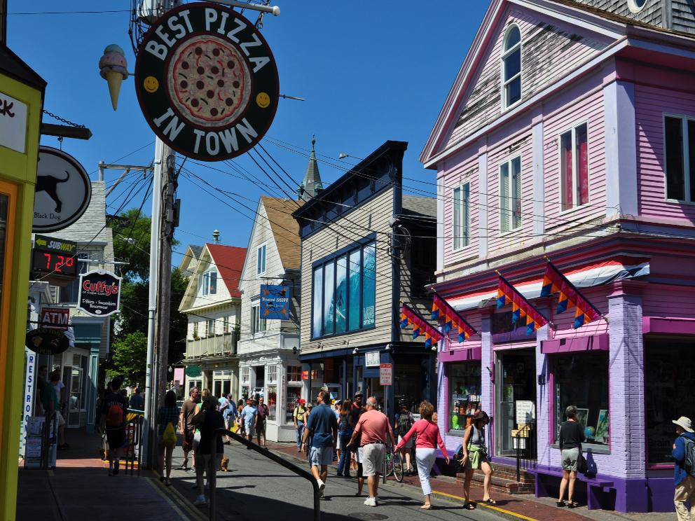 Commercial Street in Provincetown, a easy day trip from Woods Hole