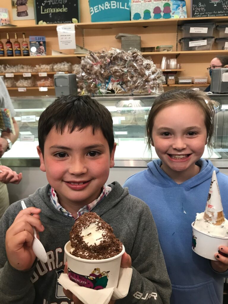Two kids with ice cream at Ben and Bills in Falmouth MA