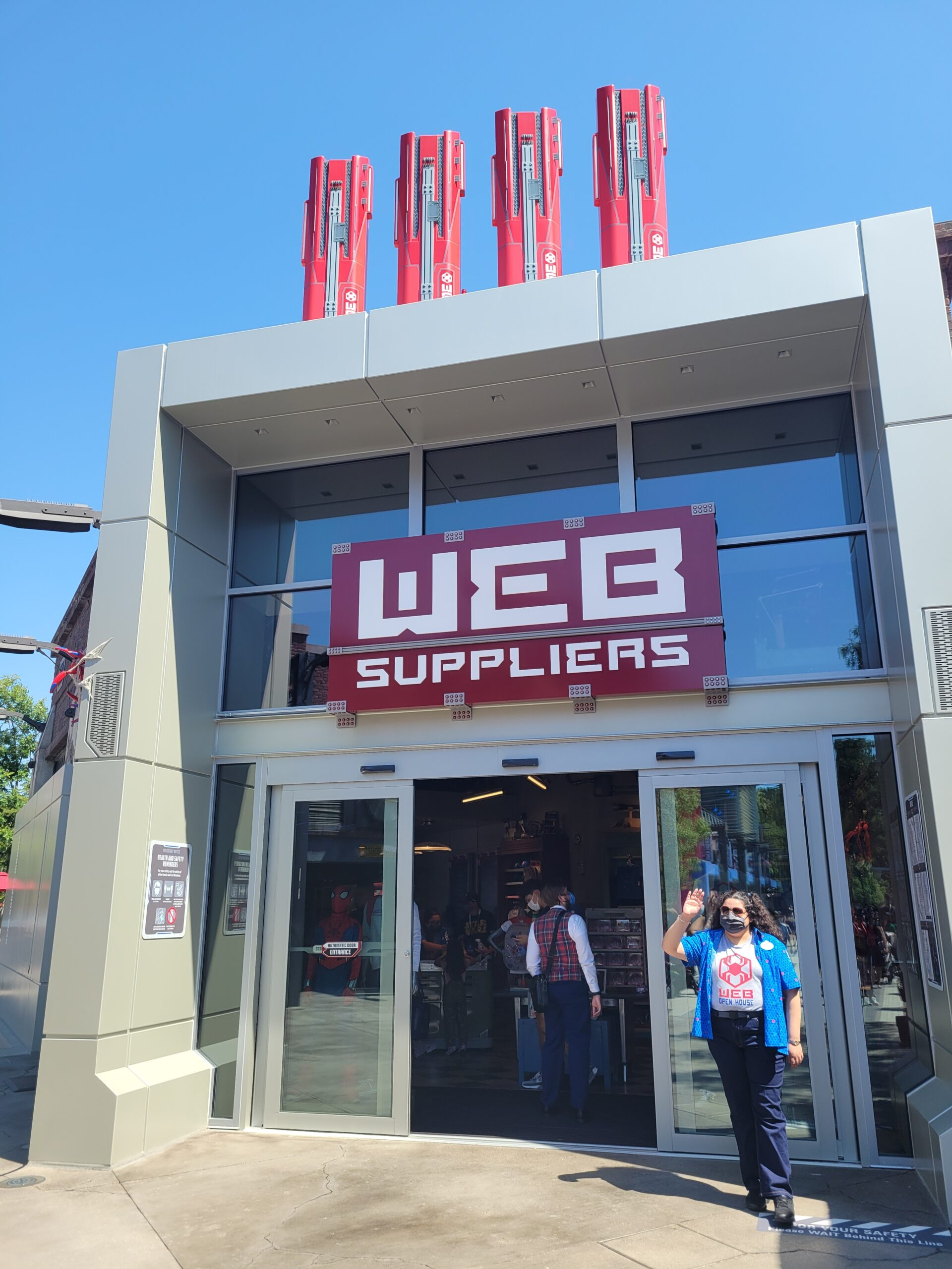 The entrance to WEB Suppliers, one of the shopping feature at Avengers Campus Disneyland.