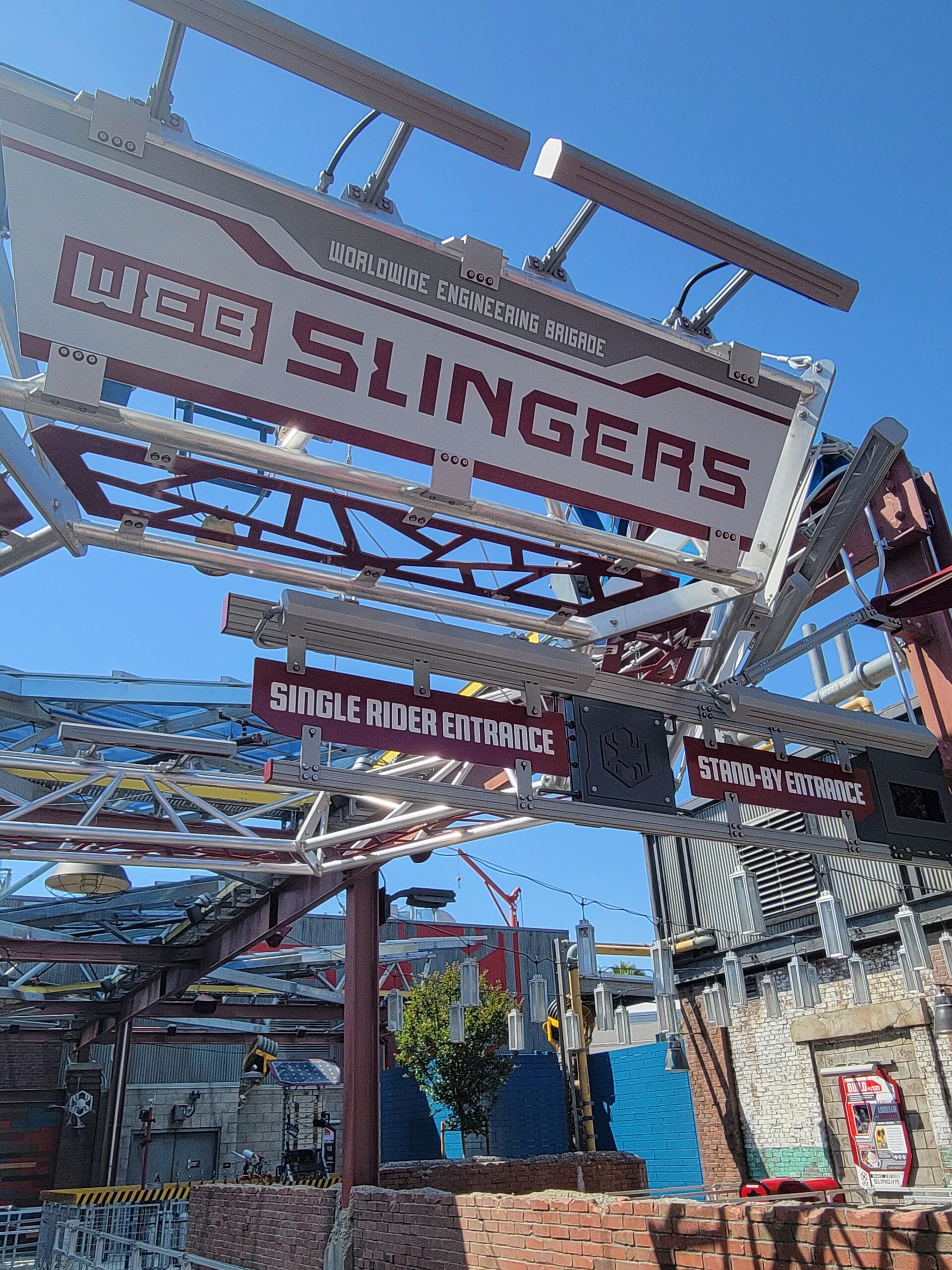 The entrance to WEB SLINGERS: A Spider-Man Adventure ride at Avengers Campus Disneyland