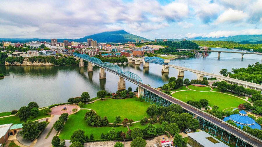aerial view of Chattanooga TN, a city full of fun things to do with kids