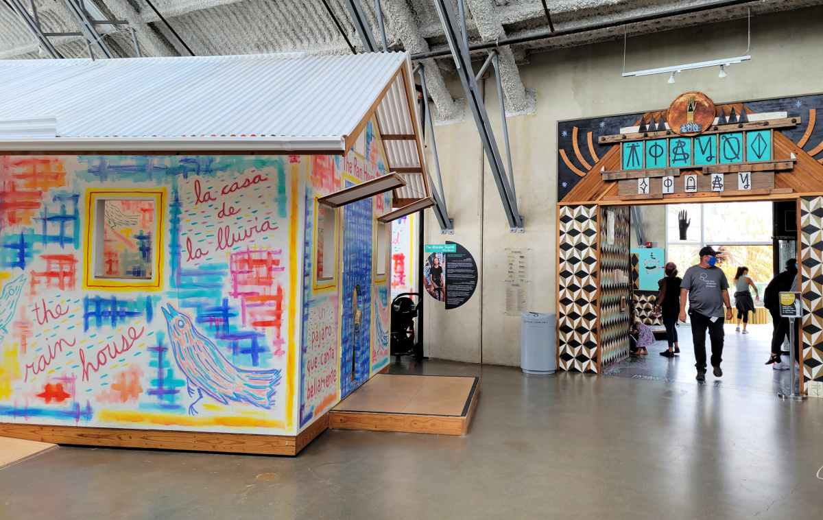 The Rain House and entrance to The Wonder Sound on the upper level of the New Children's Museum in San Diego