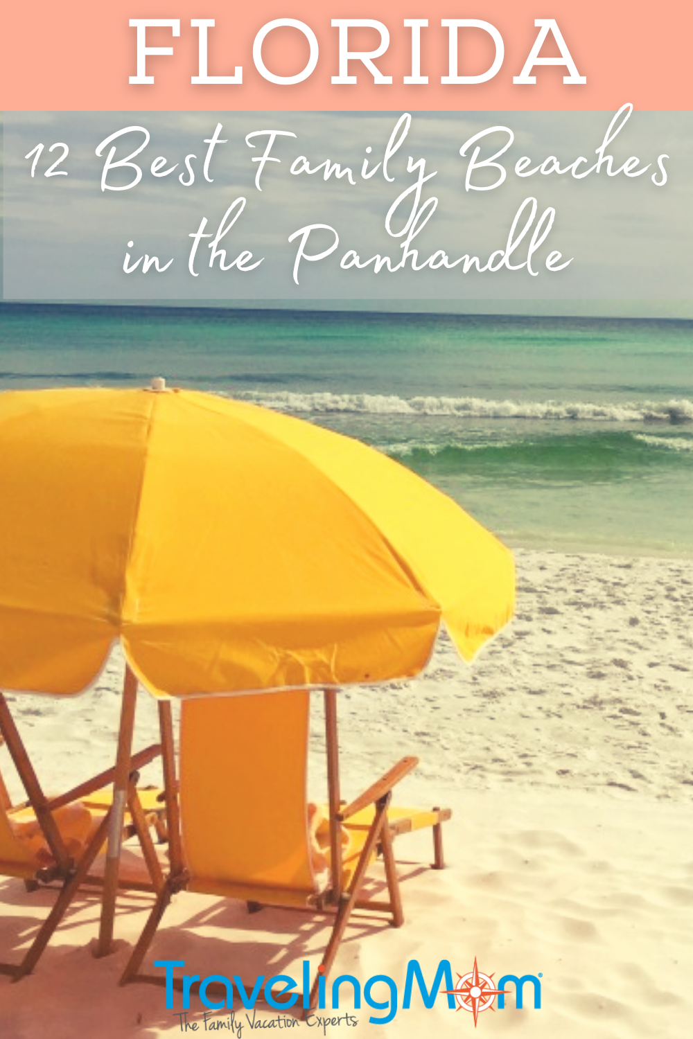 yellow umbrella and beach chairs near water with best beaches in the panhandle text
