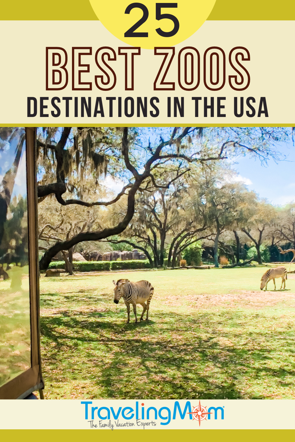 zebras on a field with trees pin has text 25 best zoos destinations in the usa written on it