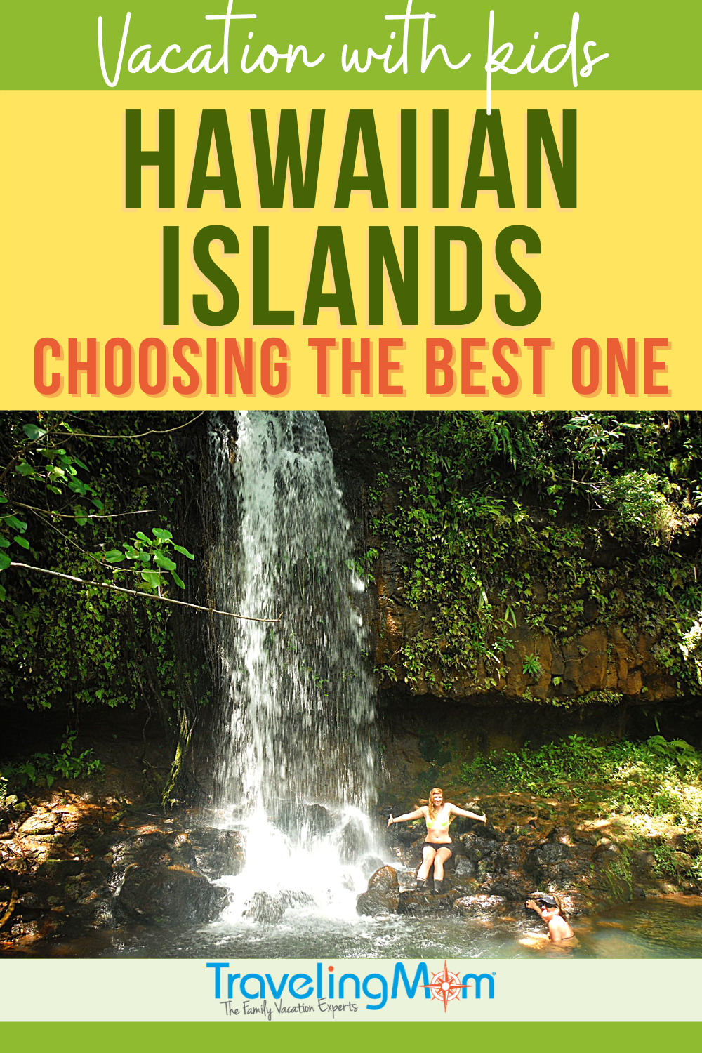 pin with words hawaiian islands choosing the best one with an image of a rocky waterfall into a swimming hole