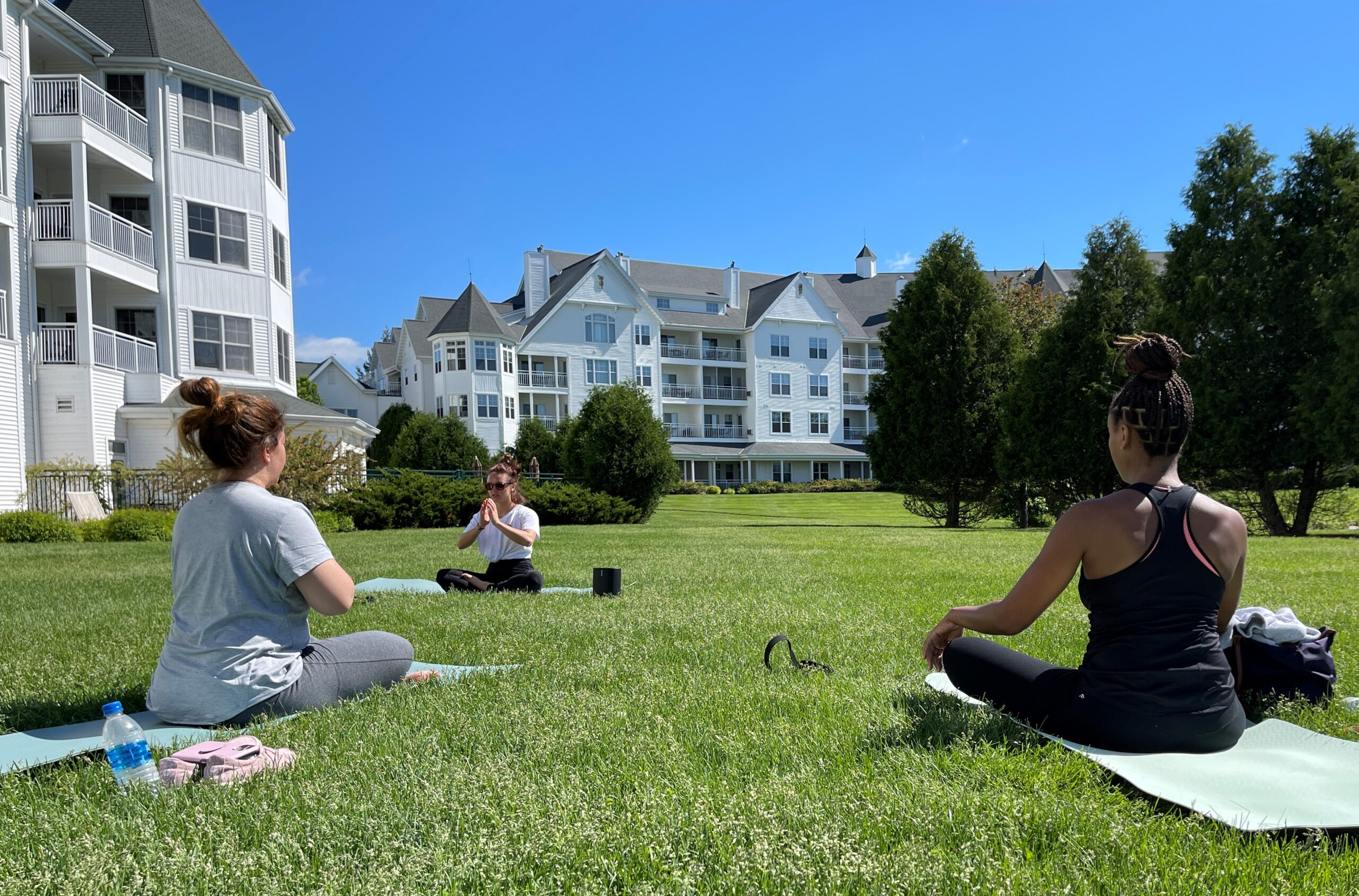 Yoga on the lawn at the Osthoff Resort in Elkhart Lake, WI.