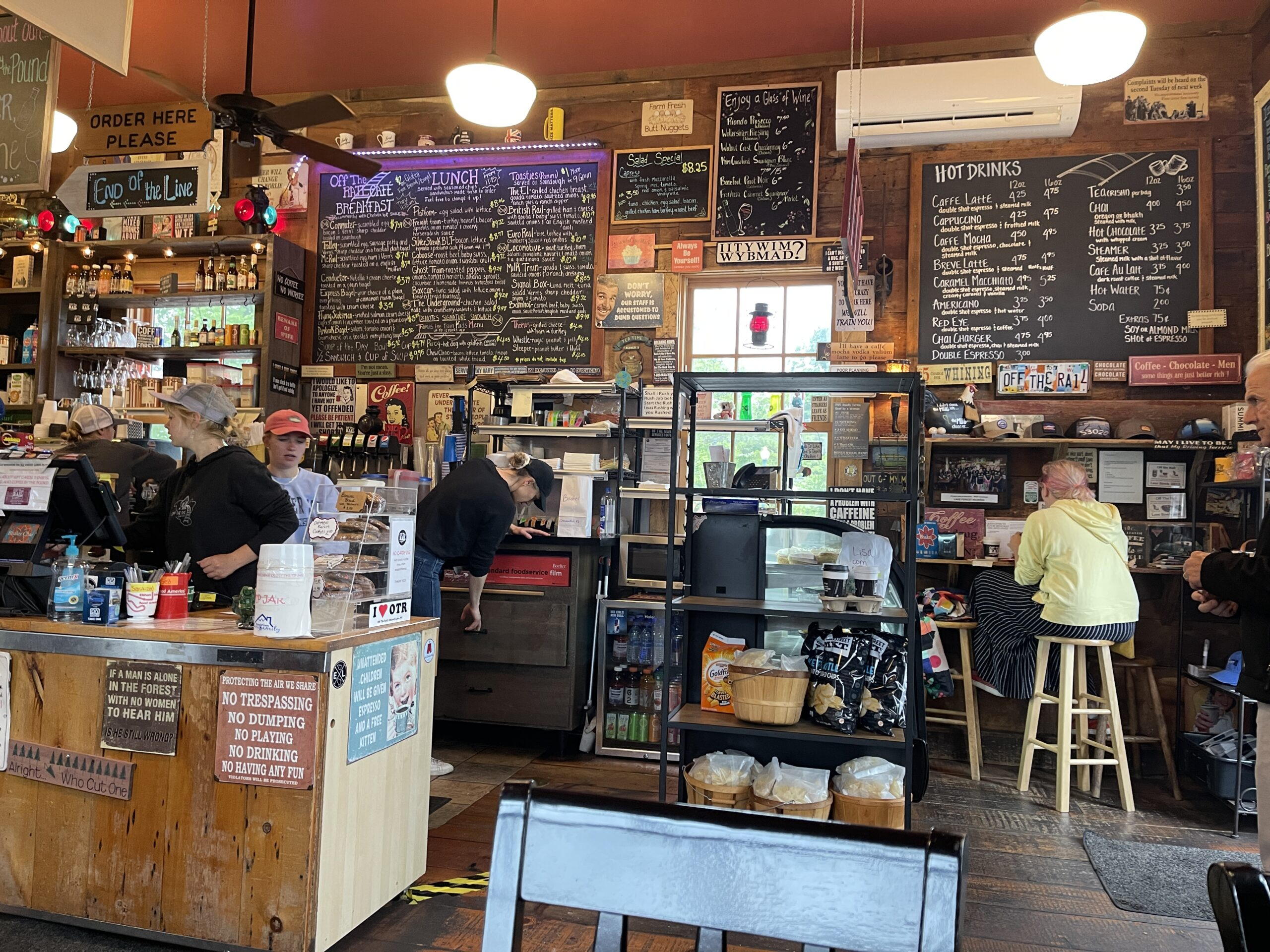 Interior of Off The Rail cafe in Elkhart Lake