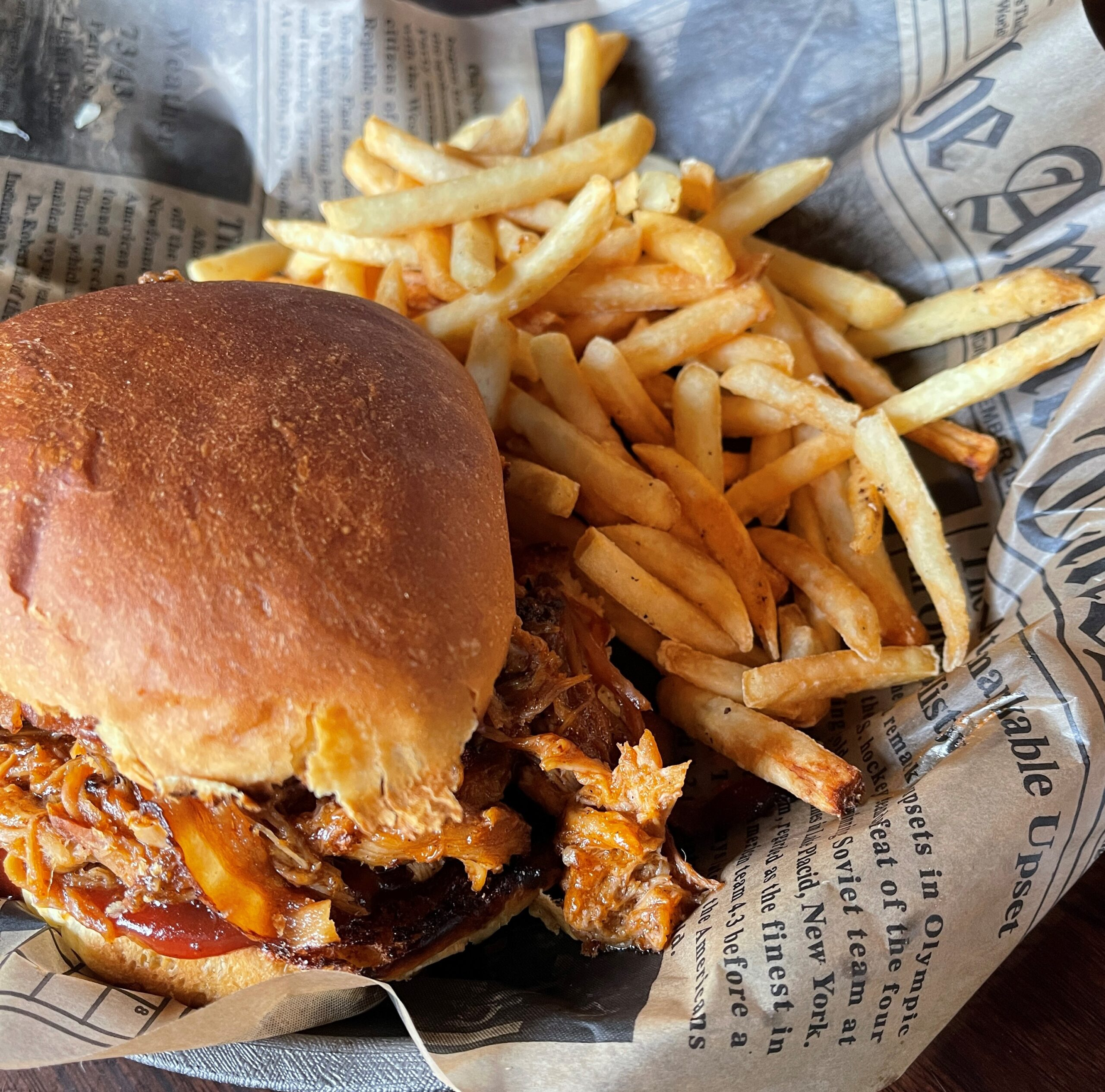 Pulled Pork sandwich at the Route 67 Saloon in Elkhart Lake.