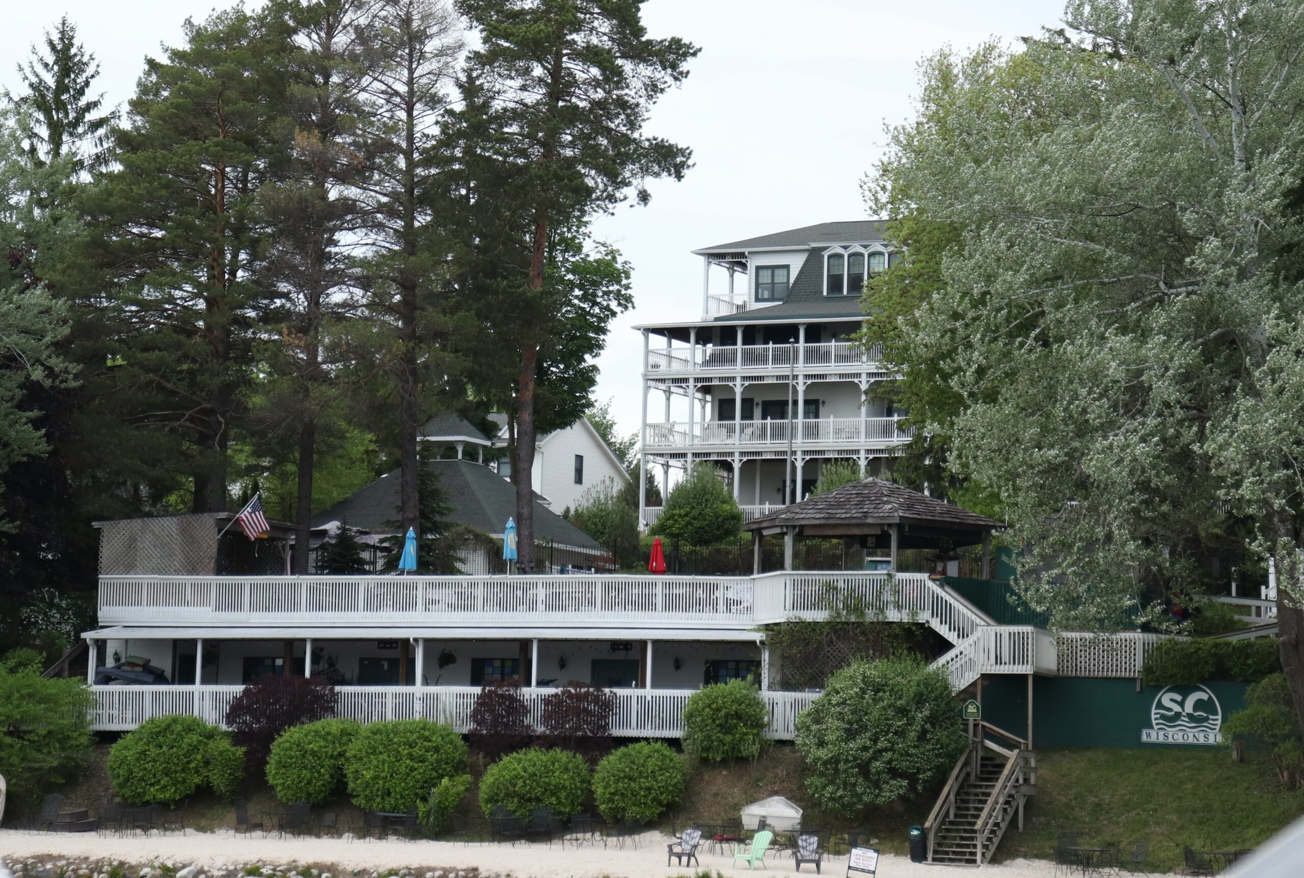 View of The Shore Club from the water in Elkhart Lake, WI.