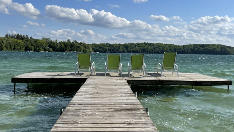 Lounge chairs off the private beach at Siebken's Resort in Elkhart Lake, WI.