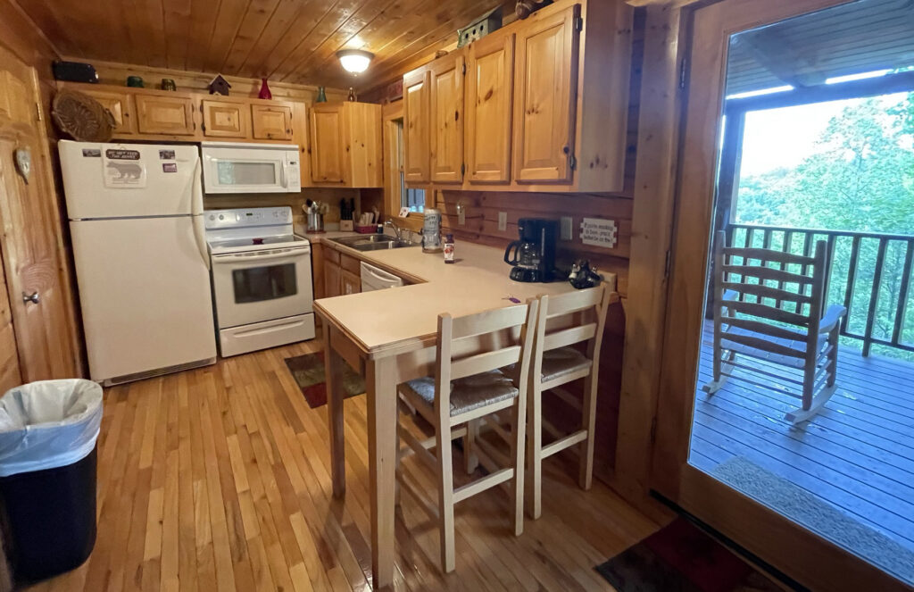 Kitchen of the Picture Perfect log cabin at Little Valley Mountain Resort in Tennessee