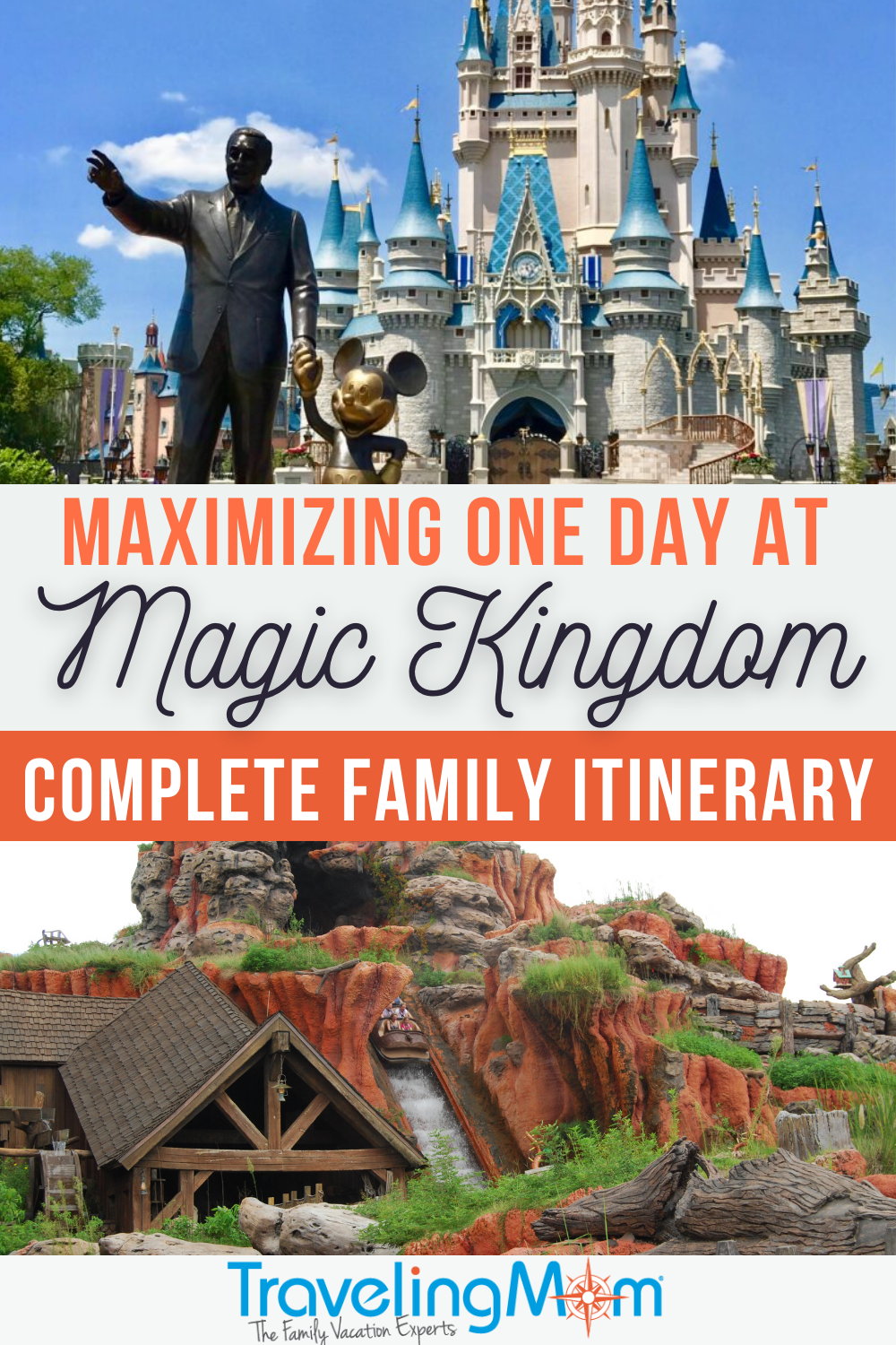 text on pin maximizing one day at magic kingdom complete family itinerary top image castle bottom image splash mountain