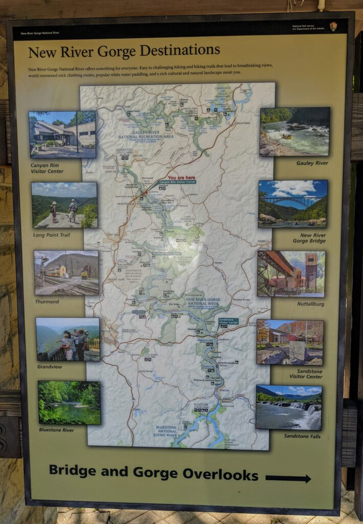 A map of the 53-mile-long New River Gorge National Park and Preserve