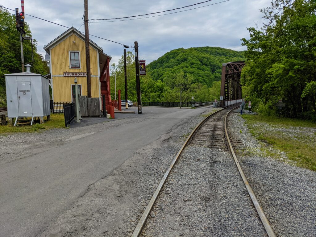 train tracks leading out of Thurmond, the coal mining ghost town that is one of the best things to do in New River Gorge National Park