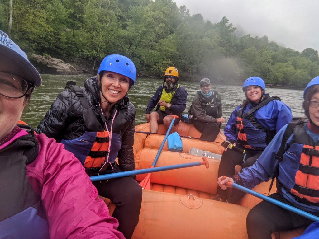 Whitewater rafters on the Upper New River in West Virginia