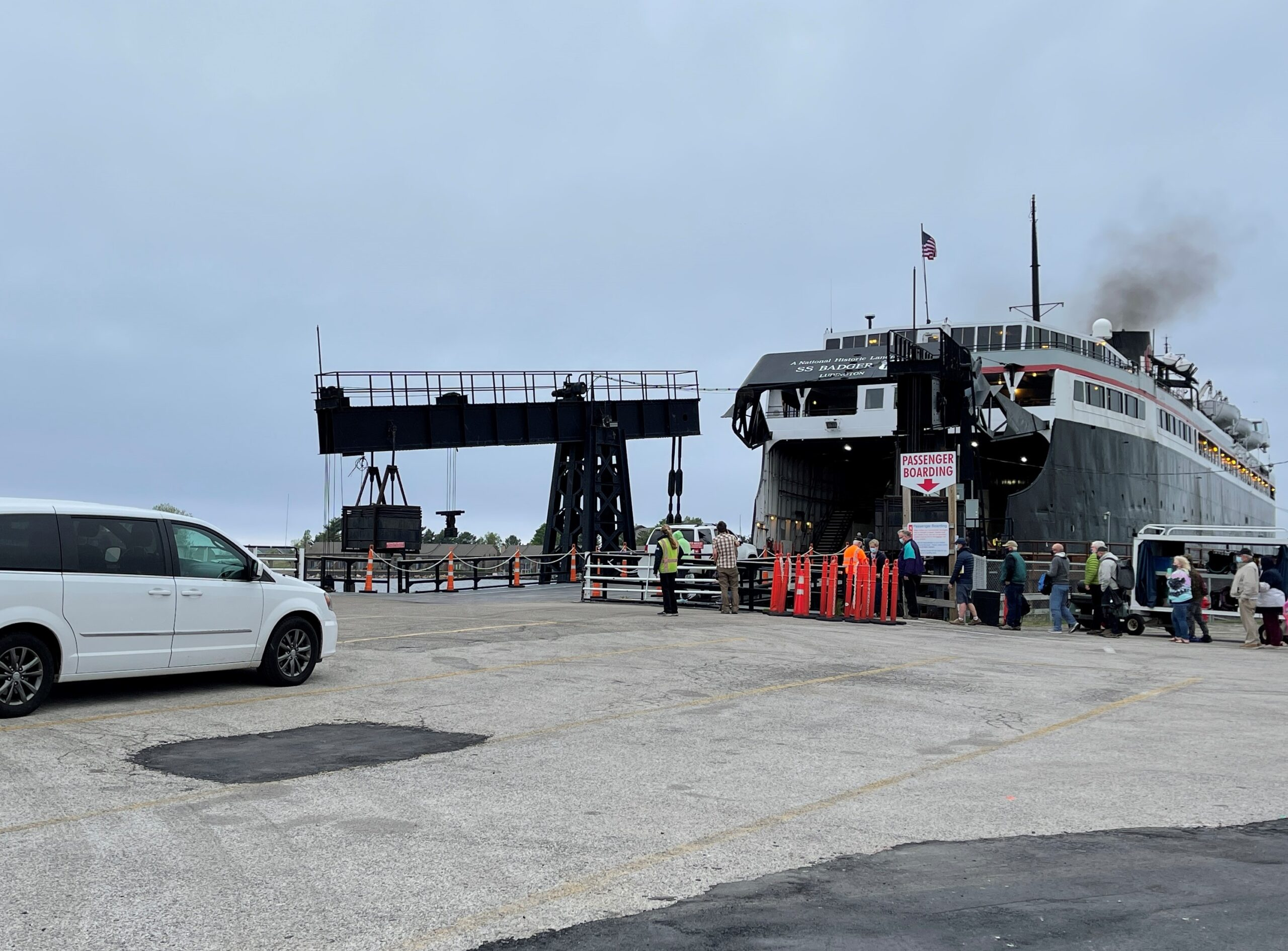 vehicle waiting to board the SS Badger carferry.