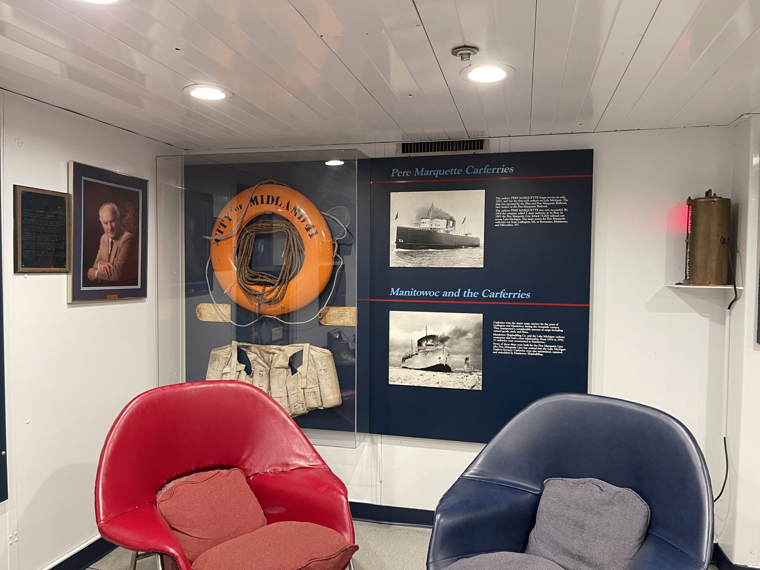 View of the small museum and quiet lounge aboard the SS Badger.