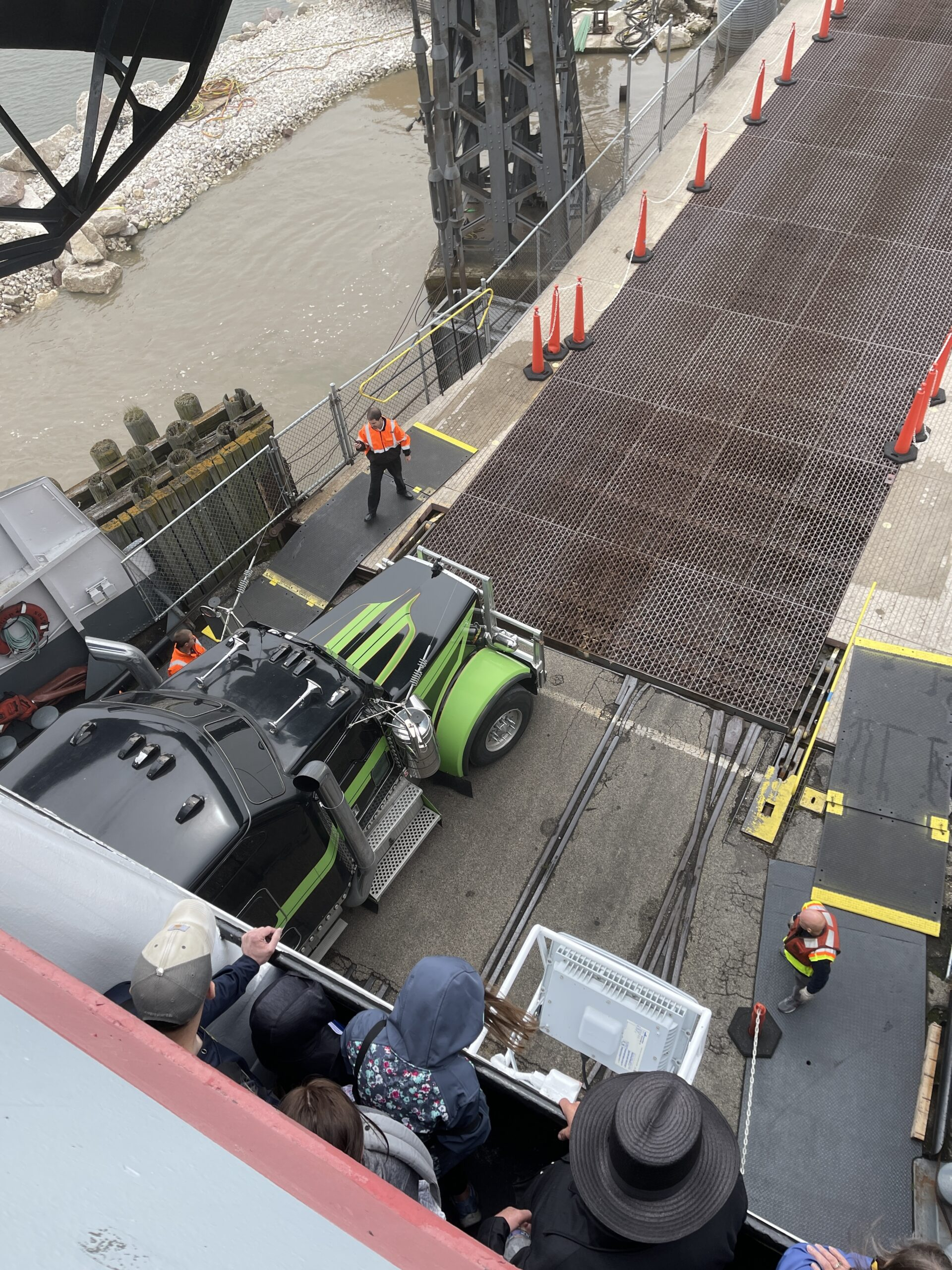 Semi truck exiting from the SS Badger.