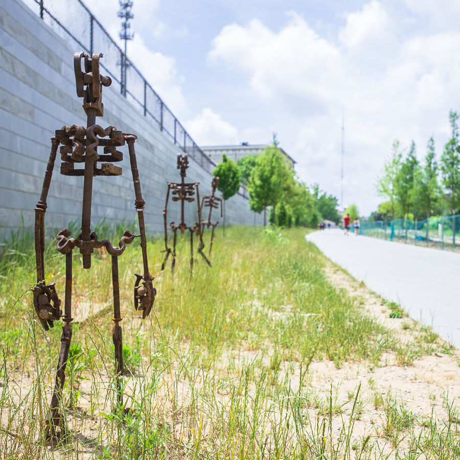 Sculptures along the Atlanta Beltline, one of the best things to do in Atlanta with kids