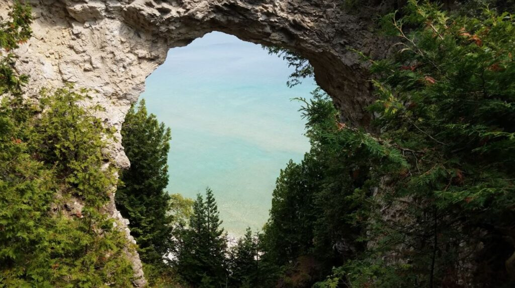 Arch Rock in Mackinac Island, one of the top vacation spots in Michigan
