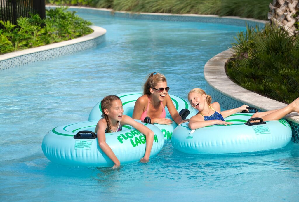 Woman and two kids on inner tubes at the Hilton Orlando Buena Vista Palace, an off property Disney hotel