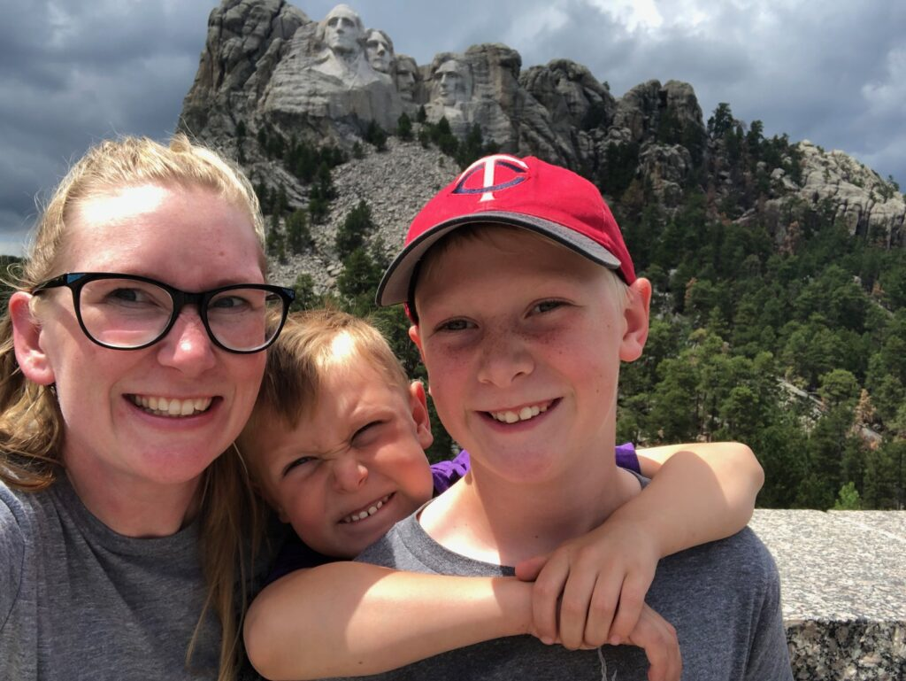 Mount Rushmore National Memorial family photo, one of the fun things to do near Rapid City SD with kids