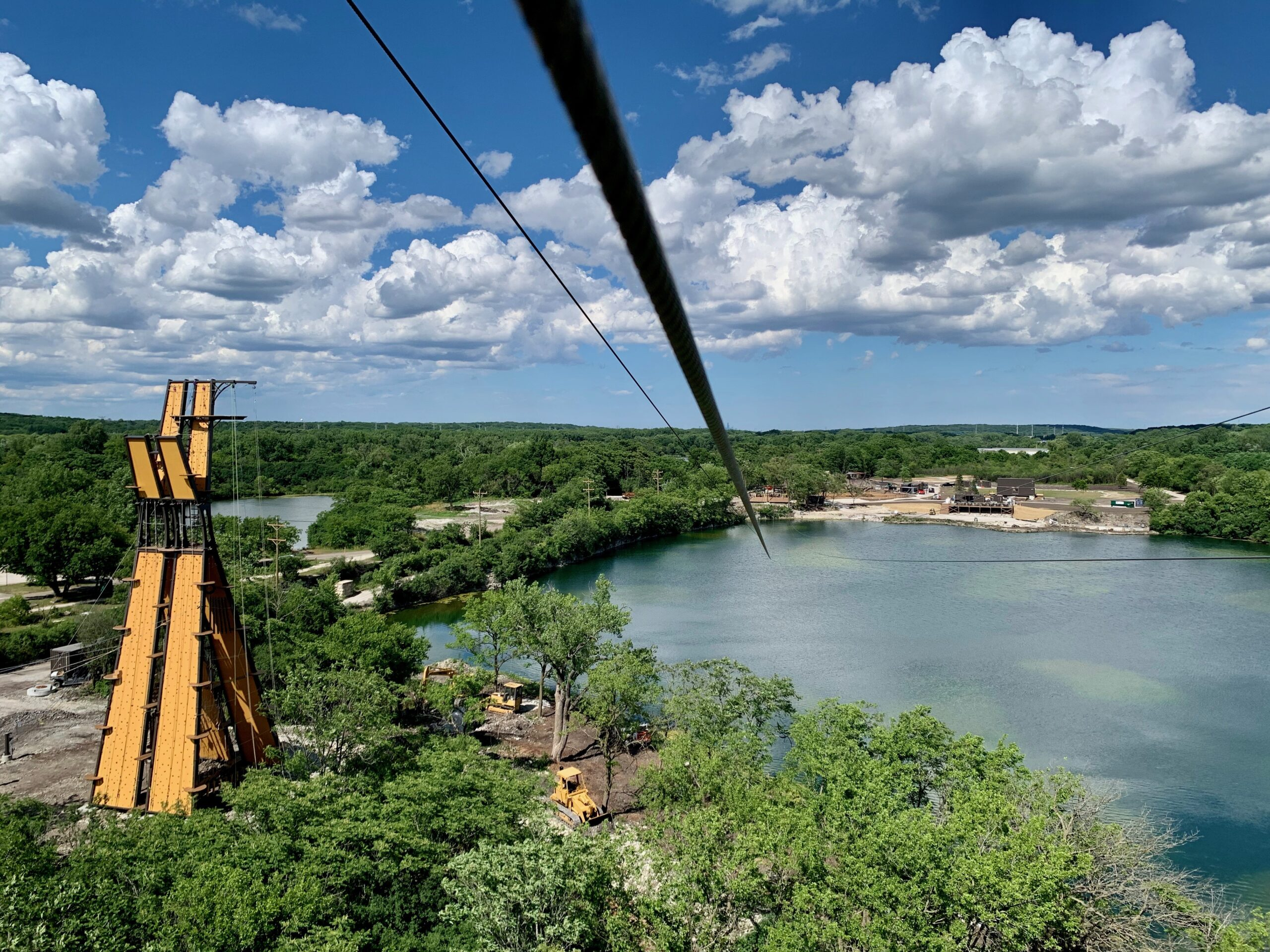 Zipline over a lake at The Forge: Lemont Quarries