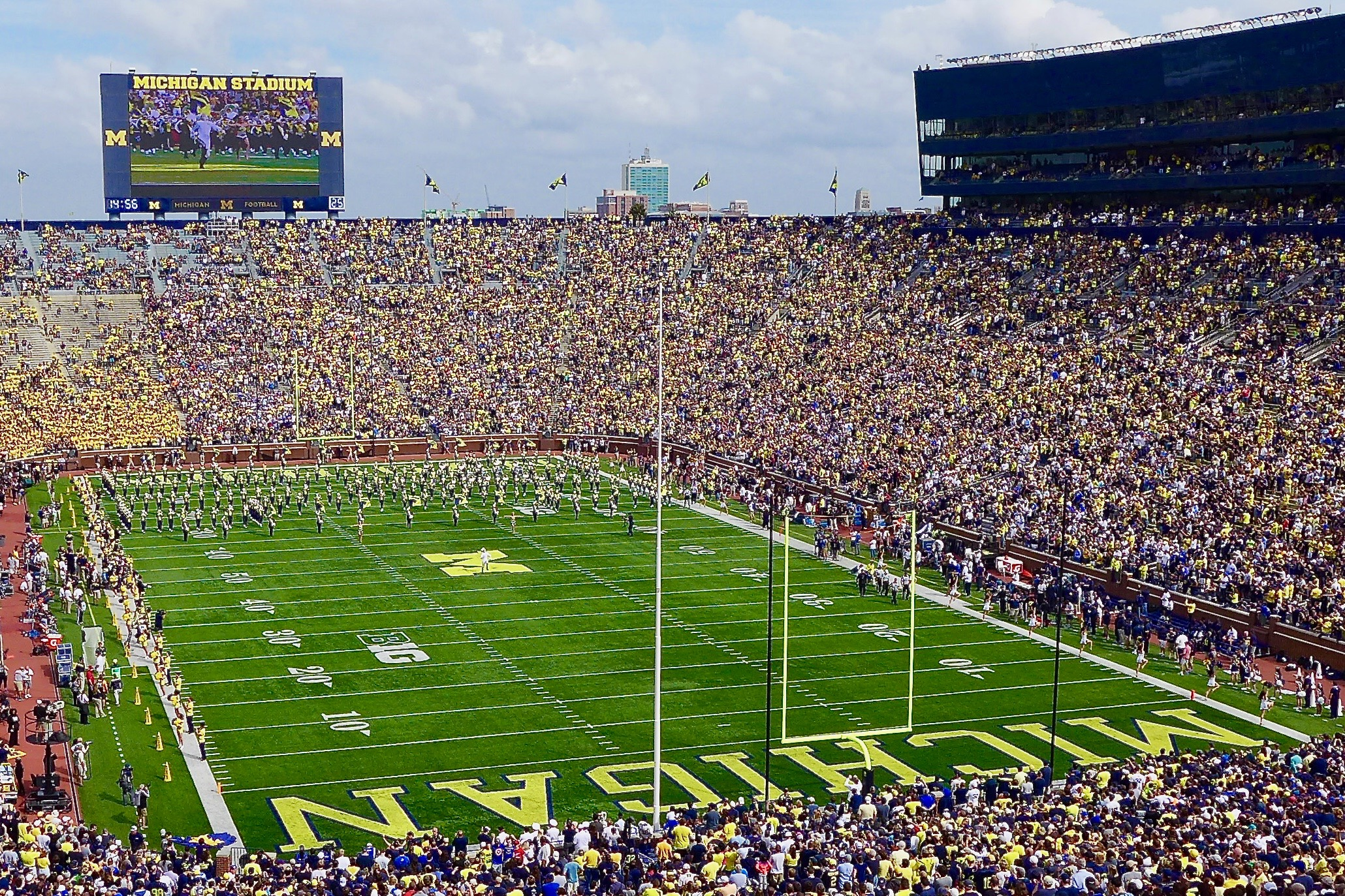 View of the University of Michigan football stadium, known as The Big House, on game day