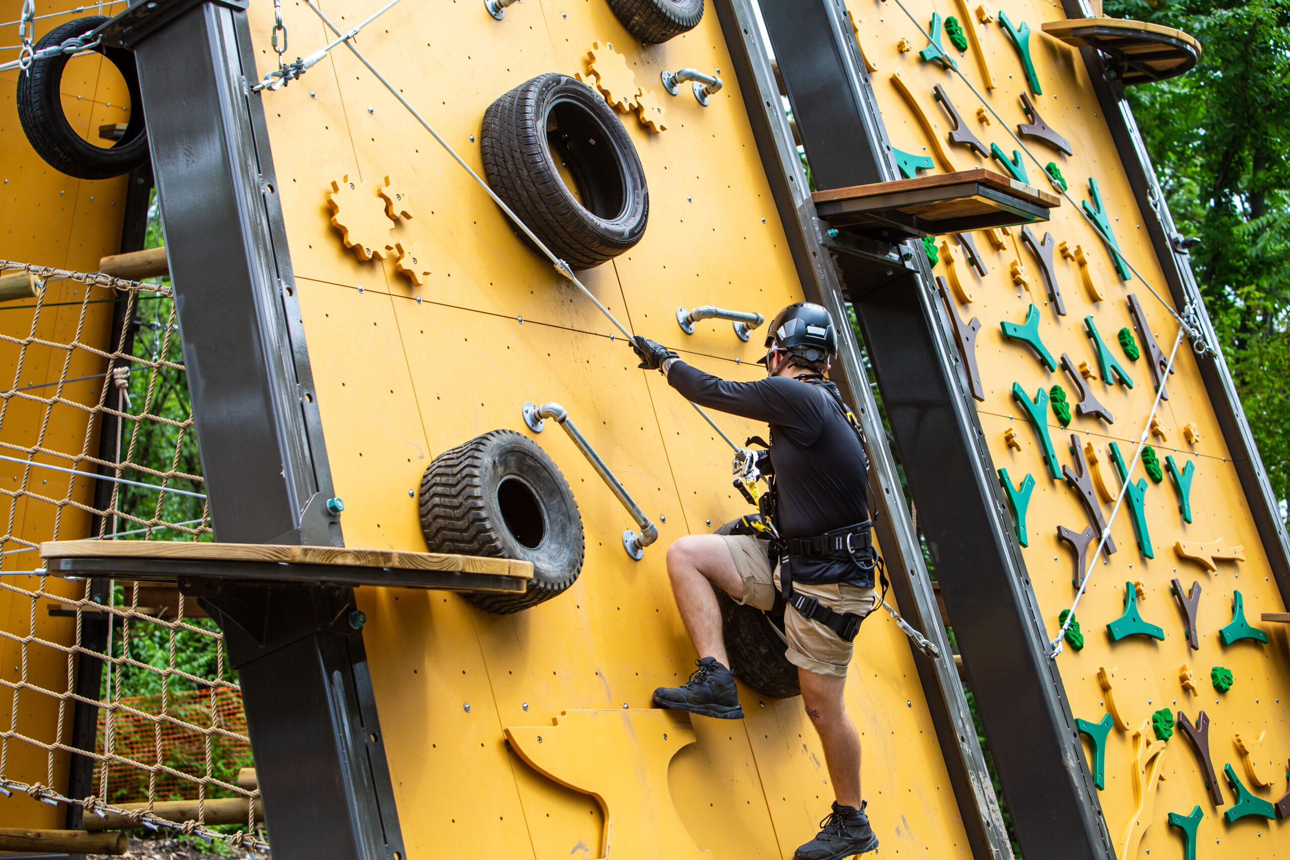 Man scaling expert climbing wall at The Forge: Lemont Quarries outside Chicago