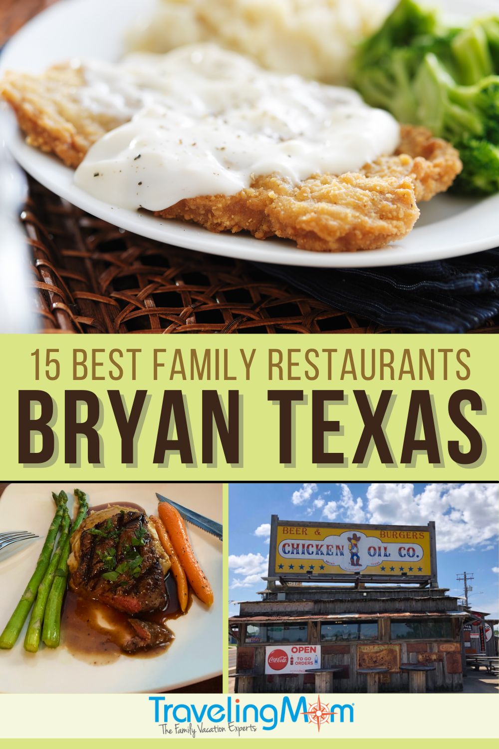 images of restaurant dishes with text reading 15 best family restaurants in bryan texas
